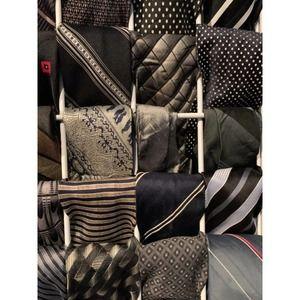 Mystery Box of 5 black silk polyester mens ties